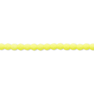 bead, preciosa, czech painted fire-polished glass, matte neon yellow, 3mm faceted round. sold per 8-inch strand, approximately 65 beads.