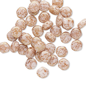 bead, preciosa, czech pressed glass, marbled opaque pink, 6mm puffed disc with (2) 0.7-0.8mm holes. sold per pkg of 40.