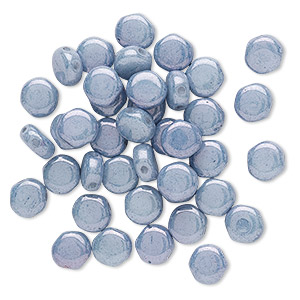 bead, preciosa, czech pressed glass, opaque blue luster, 6mm puffed disc with (2) 0.7-0.8mm holes. sold per pkg of 40.