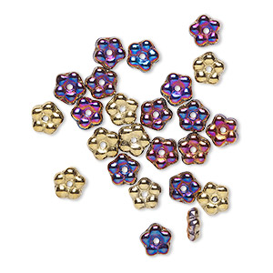 bead, preciosa, czech pressed glass, opaque california violet, 5x2mm forget-me-not flower with 0.8-0.9mm hole. sold per pkg of 50.