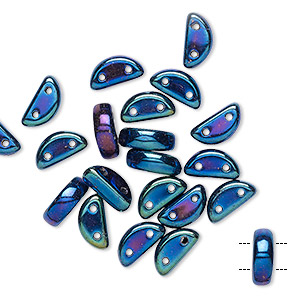 bead, preciosa, czech pressed glass, opaque iris blue, 8.5x3mm half moon with (2) 0.8-0.9mm holes. sold per pkg of 20.