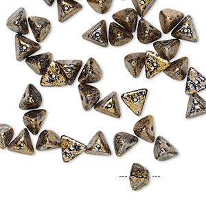 bead, preciosa, czech pressed glass, opaque jet / silver / gold, 6x4mm pyramid with 0.8-0.9mm hole. sold per pkg of 40.