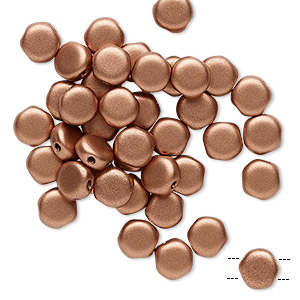 bead, preciosa, czech pressed glass, opaque satin copper, 6mm puffed disc with (2) 0.7-0.8mm holes. sold per pkg of 40.
