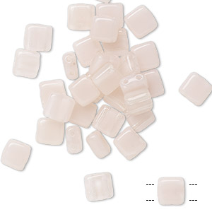 bead, preciosa, czech pressed glass, translucent clear and light pink opal, 6x6mm flat square with (2) 0.7mm holes. sold per pkg of 40.