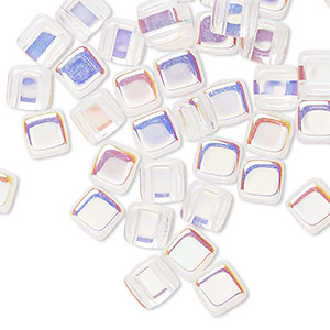 bead, preciosa, czech pressed glass, transparent clear ab, 6x6mm flat square with (2) 0.7mm holes. sold per pkg of 40.