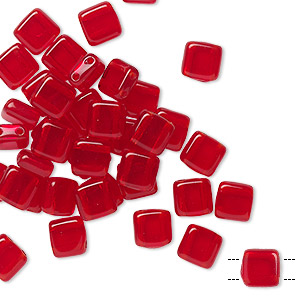 bead, preciosa, czech pressed glass, transparent ruby, 6x6mm flat square with (2) 0.7mm holes. sold per pkg of 40.