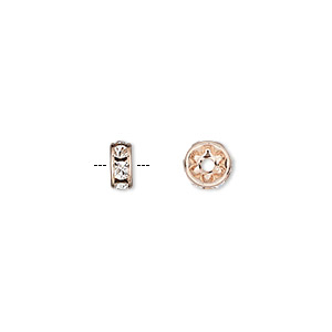 bead, preciosa maxima czech crystal and rose gold-plated brass, crystal clear, 6x3mm rondelle. sold per pkg of 4.