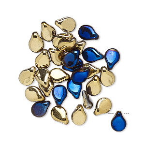 bead, preciosa pip™, czech glass, opaque california blue, 7x5mm top-drilled pip. sold per pkg of 30.