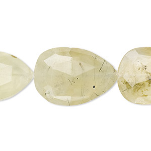 bead, prehnite (natural), 22x16mm-29x19mm hand-cut faceted puffed teardrop, b- grade, mohs hardness 6 to 6-1/2. sold per 6-inch strand.