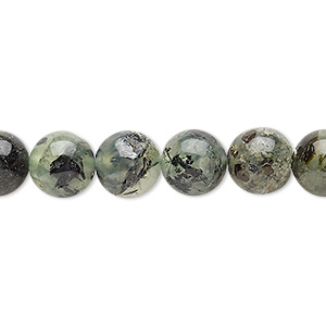 bead, prehnite (natural), 8-9mm round, d grade, mohs hardness 6 to 6-1/2. sold per 15-inch strand.