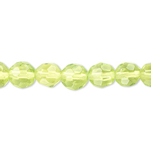bead, pressed glass, green, 7-8mm faceted round. sold per 16-inch strand.