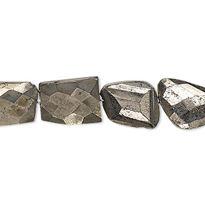 bead, pyrite (natural), small to medium hand-cut faceted flat nugget, c+ grade, mohs hardness 6. sold per 7-inch strand.