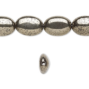 bead, pyrite (stabilized), 14x10mm oval, b grade, mohs hardness 6 to 6-1/2. sold per 16-inch strand.