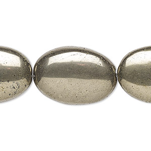 bead, pyrite (stabilized), 25x18mm flat oval, b grade, mohs hardness 6 to 6-1/2. sold per 16-inch strand.