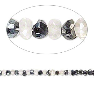 bead, quartz crystal and black spinel (coated), luster, 2x1mm-3x2mm hand-cut faceted rondelle, c grade, mohs hardness 7. sold per 14-inch strand.