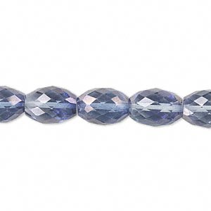 bead, quartz crystal (coated), blue ab, 11x8mm hand-cut faceted oval, b grade, mohs hardness 7. sold per pkg of 10.