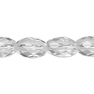 bead, quartz crystal (natural), 14x10mm faceted oval, a- grade, mohs hardness 7. sold per 8-inch strand, approximately 15 beads.