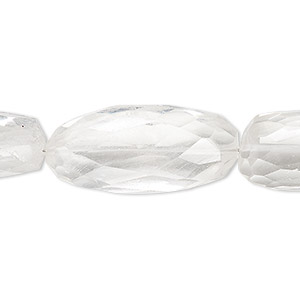 bead, quartz crystal (natural), 29x13mm-41x14mm hand-cut faceted freeform tube, c grade, mohs hardness 7. sold per 7-inch strand.