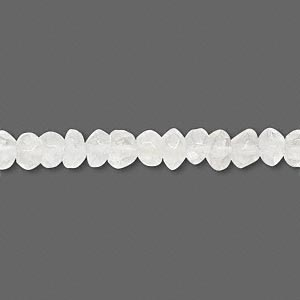 bead, quartz crystal (natural), 4x2mm-6x4mm hand-cut faceted rondelle, d grade, mohs hardness 7. sold per 14-inch strand.