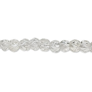 bead, quartz crystal (natural), 6x6mm hand-cut carved flower, b- grade, mohs hardness 7. sold per 16-inch strand.
