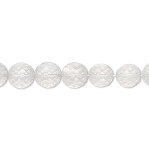 bead, quartz crystal (natural), 7-8mm hand-cut faceted round, b grade, mohs hardness 7. sold per 8-inch strand.