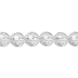 bead, quartz crystal (natural), 8mm faceted round, a- grade, mohs hardness 7. sold per 8-inch strand, approximately 25 beads.