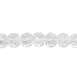 bead, quartz crystal (natural), frosted, 6-8mm hand-cut carved round, b grade, mohs hardness 7. sold per 16-inch strand.