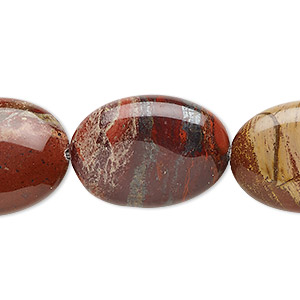 bead, rainbow brecciated jasper (natural), 25x18mm flat oval, b grade, mohs hardness 6-1/2 to 7. sold per 16-inch strand.
