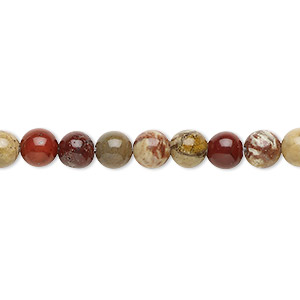 bead, rainbow brecciated jasper (natural), 6mm round, b grade, mohs hardness 6-1/2 to 7. sold per 16-inch strand.