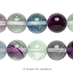 bead, rainbow fluorite (natural), 12mm round, a grade, mohs hardness 4. sold per 16-inch strand.