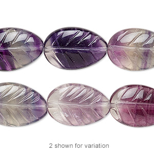 bead, rainbow fluorite (natural), 18x12mm carved leaf, b grade, mohs hardness 4. sold per 16-inch strand.
