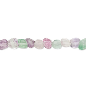bead, rainbow fluorite (natural), small pebble, mohs hardness 4. sold per 16-inch strand.