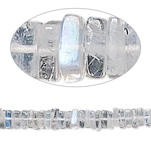 bead, rainbow moonstone (natural), 4x1mm-6x2mm hand-cut square rondelle, b grade, mohs hardness 6 to 6-1/2. sold per 8-inch strand, approximately 95-150 beads.