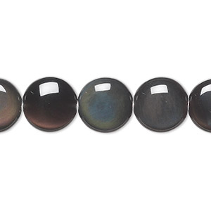 bead, rainbow obsidian (natural), 12mm flat round, a grade, mohs hardness 5 to 5-1/2. sold per 16-inch strand.