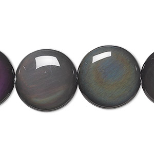 bead, rainbow obsidian (natural), 20mm flat round, a grade, mohs hardness 5 to 5-1/2. sold per 8-inch strand, approximately 10 beads.