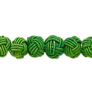 bead, rayon and acrylic, green, 8-9mm knotted round. sold per pkg of 20.