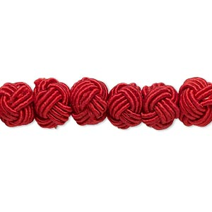 bead, rayon and acrylic pearl, red, 8-9mm knotted round. sold per pkg of 20.