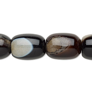 bead, red agate / black agate / brown agate (dyed / heated), 17x13mm-18x14mm barrel, c grade, mohs hardness 6-1/2 to 7. sold per 15-inch strand.