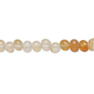 bead, red agate and white agate (natural / dyed / heated), light, small to medium pebble, mohs hardness 6-1/2 to 7. sold per 15-inch strand.