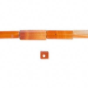 bead, red agate (dyed / heated), 13x4mm square tube, b grade, mohs hardness 6-1/2 to 7. sold per 16-inch strand.