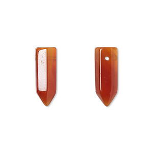 bead, red agate (dyed / heated), 17x6mm hand-cut point, b grade, mohs hardness 6-1/2 to 7. sold per pkg of 2.