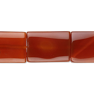 bead, red agate (dyed / heated), 20x14mm-22x16mm flat rectangle, b grade, mohs hardness 6-1/2 to 7. sold per 16-inch strand.