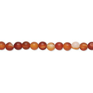 bead, red agate (dyed / heated), 3-4mm round, c grade, mohs hardness 6-1/2 to 7. sold per 15-inch strand.