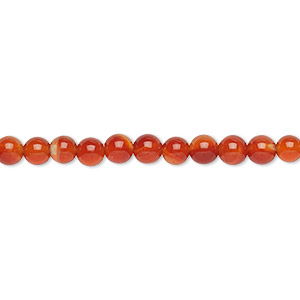 bead, red agate (dyed / heated), 4mm round, b grade, mohs hardness 6-1/2 to 7. sold per 16-inch strand.