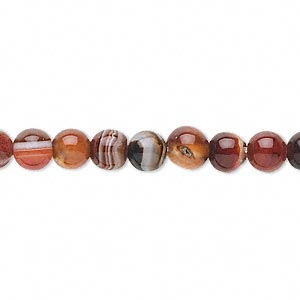 bead, red and black agate (dyed / heated), 6mm round, c- grade, mohs hardness 6-1/2 to 7. sold per 15-inch strand.