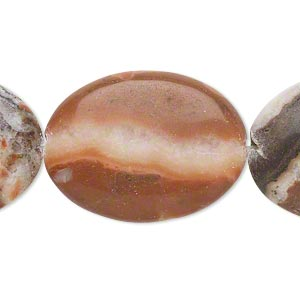 bead, red and white italian onyx (coated), 30x22mm flat oval, b- grade, mohs hardness 3. sold per 16-inch strand.