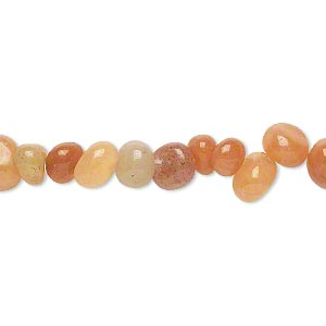 bead, red aventurine (natural), small pebble, mohs hardness 7. sold per 16-inch strand.