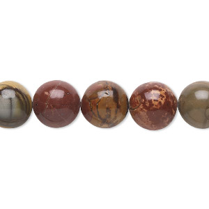 bead, red creek jasper (stabilized), 10mm round, b grade, mohs hardness 6-1/2 to 7. sold per 16-inch strand.