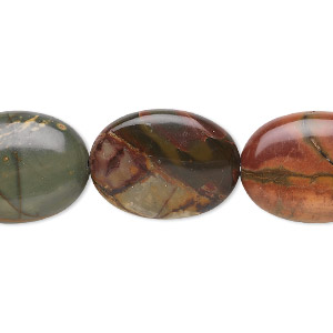 bead, red creek jasper (stabilized), 20x15mm flat oval, b grade, mohs hardness 6-1/2 to 7. sold per 16-inch strand.