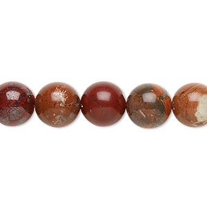 bead, red flake jasper (natural), 10mm round, b grade, mohs hardness 6-1/2 to 7. sold per 16-inch strand.